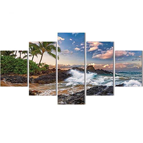 DAIZHJ Sunset Beach Canvas Art 5 stks Zee Boot Sky Wall Foto's Schilderij Voor Thuis Decoratieve Poster Gedrukt Op Doek