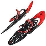 ALPIDEX Raquetas Nieve Luengo Adulto 38-46 Bolsa Transporte Bastones Opcional, Color:Red sin Bastones