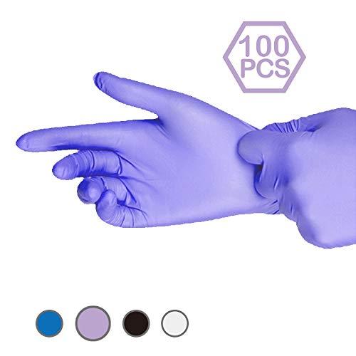 POVIA Guantes de Nitrilo Desechables Multicolores, sin Látex sin Polvo, Protección, puede Tocar la Pantalla, uso en Cocina, limpieza del hogar, reparación mecánica, Caja de 100 piezas (Púrpura, S)