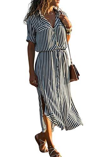 Happy Sailed Damen Langarm Gestreift Elegant Lang Blusenkleid Hemdkleid Shirt Kleid Oberteil Kleid Maxikleid mit Gürtel,3schwarz/Weiß,S