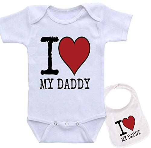 I Love My Daddy Unique Custom Unisex Baby Bodysuit Onesie & Matching bib White