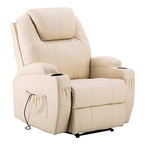 MCombo Elektrisch Relaxsessel Massagesessel Fernsehsessel Liegefunktion Vibration Heizung 7061 neues Modell (Cremeweiß)