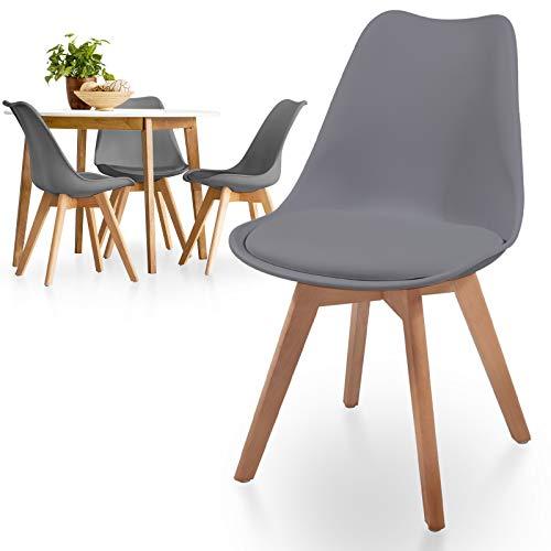 MIADOMODO® Esszimmerstühle 2er 4er 6er 8er Set - Skandinavischer Stil, gepolstert mit Sitzkissen, aus Kunststoff & Massivholz, Farbwahl - Vintage, Retro, Küchenstuhl, Stühle (4er, Grau)