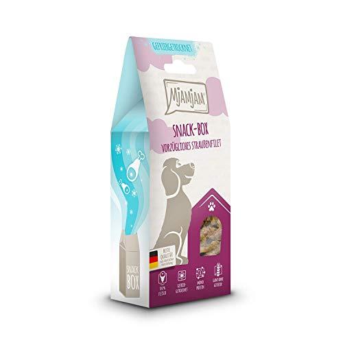 MjAMjAM - Premium Snackbox für Hunde - vorzügliches Straußenfilet, gefriergetrocknet, 1er Pack (1 x 80 g)