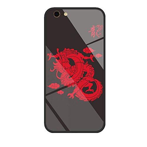 fujianTH Cases per custodie e Cover iPhone, Schema di Drago Cinese, TPU e Materiale di Vetro Si sentono Grandi Sottile per iPhone 6