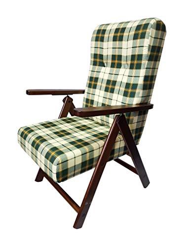 Totò Piccinni Poltrona Sedia Sdraio MOLISANA Lusso in Legno reclinabile 4 Posizioni (Verde Scacchi)
