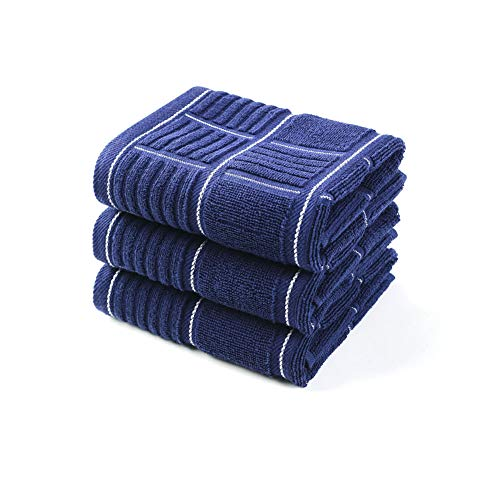 Anyi Kitchen Dish Towels Heavy Duty Absorbent Dish Cloths with Hanging Loop 100% Cotton Tea Bar Towels (16x26, Set of 3, Navy)