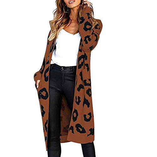 Vrouwen Button Sweater Panter trui en lange stukken Loose Knit Cardigan Knitwear Winter Hooded (Color : Coffee, Size : L)