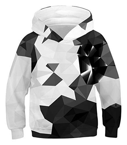 PIZOFF Unisex Sweater Hoodie Kids Black and White Hooded 3D Printed Diamond Hooded Pullover Sweatshirt