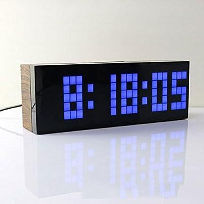 Despertador pantalla de temperatura de plástico rectángulo led multifunción reloj de madera luminoso mudo reloj electrónico