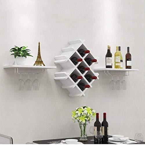 BFDMY Estante De Vino Montado En La Pared Estante De Pared De Madera Rejilla De Vino Restaurante Rómbico Estante De Vino Casero Colgante Vino Tinto Colgante Copa De Vino