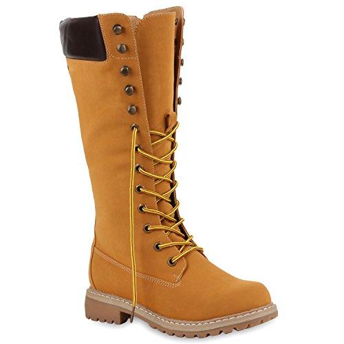 Damen Stiefel Worker Boots Profilsohle Schnürstiefel Schuhe 108991 Hellbraun 37 Flandell
