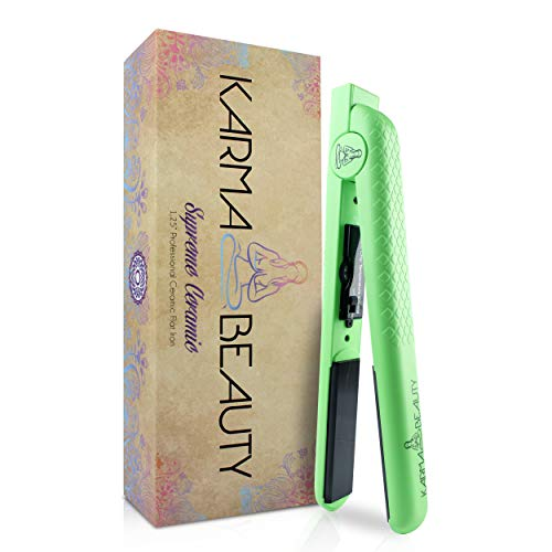 Ceramic Hair Straightener | 1.25'' Flat Iron | 450° F High Heat | Create Straight & Curly | Dual Voltage | Adjustable Temperature | For All Hair Types | Karma Beauty |(Green)