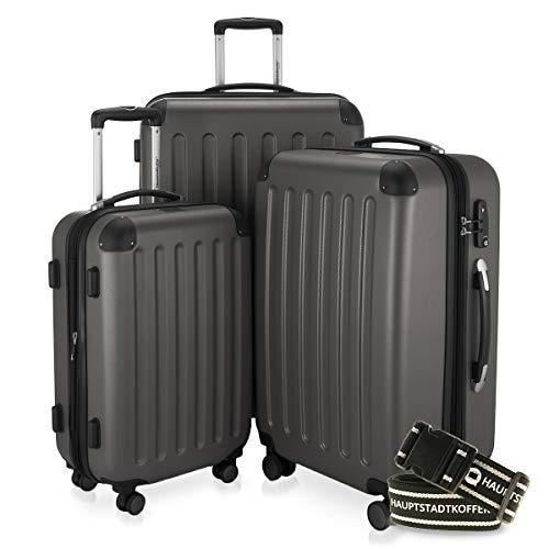 Hauptstadtkoffer - Spree - 3er-Koffer-Set Trolley-Set Rollkoffer Reisekoffer-Set Erweiterbar, TSA, 4 Rollen, (S, M & L), Graphit inkl. Gepäckgurt