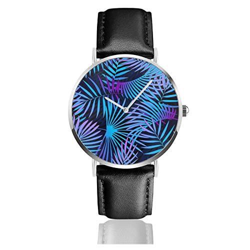 Damen-Armbanduhr, elegant, silberfarbenes rundes Gehäuse, PU-Lederband, Tropische Pflanzen, Neonfarben, Fluoreszierende Farben, nahtloses Zifferblatt, analog, Quarzuhrwerk, modische Armbanduhr