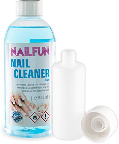 NAILFUN Nailcleaner blau 500ml + 1x Spritzflasche aus HDPE und Doppelwandverschluss im Set