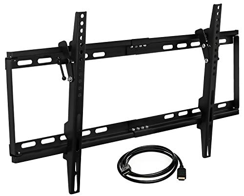 Mount-it! MI-1121M-CBL Slim Tilting TV Wall Mount Bracket Low Profile for Samsung, Sony, Vizio, TCL, LG, Sharp 32 to 65 Inch LCD/LED/4K TVs W/HDMI Cable Included