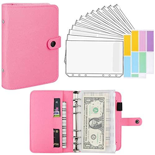 A6 Felt Binder and 12 Transparent Envelopes System Budget Planner Organizer Binder Budget Money Envelope Cash Envelope 6 Holes and Labels