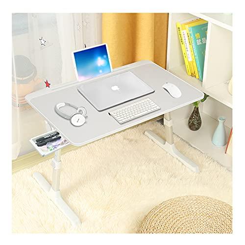 Mesa de cama para ordenador portátil, altura y ángulo, ajustable, bandeja de desayuno, portátil, plegable, bandeja para sofá, cama, terraza, balcón, jardín, oficina, 60 x 40 cm (gris claro+cajón)