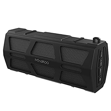 MindKoo Bluetooth Speaker, IPX5 Waterproof Outdoor Portable Wireless Speakers with Built in Mic, Hi-Fi Stereo Sound for Travel, Camping, Picnic and More