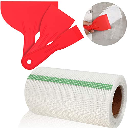 Fiberglass Fabric Tape Waterproof Membrane Fabric Sheet 6 Inch x 75 Feet Water Barrier Mesh Repair Tape Roll with 3 Pieces Scrapers for Shower Walls and Tiles