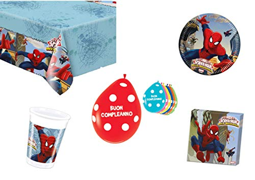 Spiderman Kit de fête d'anniversaire, table de fête, décorations et décorations pour enfants, pour homme, salle de bain, lot de 16 assiettes, 16 gobelets, 20 serviettes, ballons de 20 pièces
