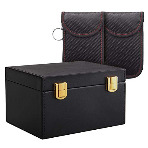 DomilayRFID SchlüSsellos Signal Blocker Box Faraday Box für Auto SchlüSsel, mit 2Pcs Safe PU...