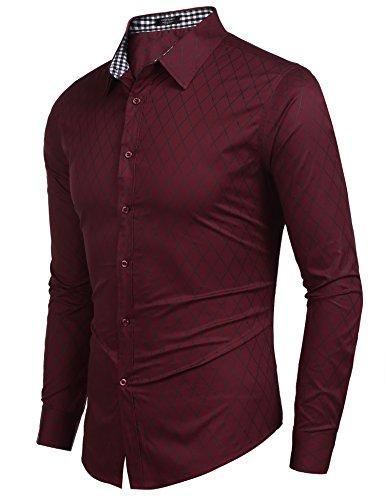 COOFANDY Herren Hemd Slim Fit Diamant-Gitter Karohemd Kariert Langarmshirt Freizeit Business Party Shirt für Männer - 6