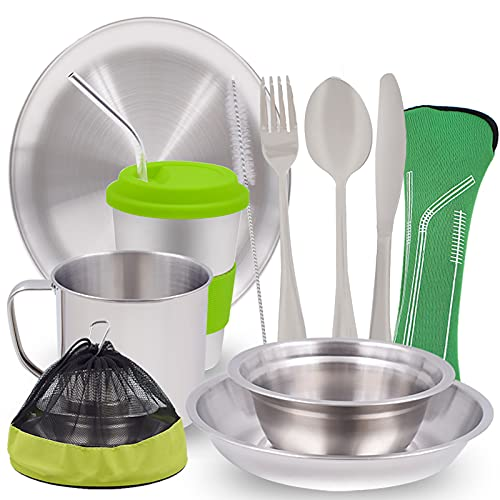 Acelane Camping Mess Kit 11pcs Stainless Steel Camping Dishes Tableware Dinnerware Camping Utensils Set with Cups Plates Bowls Cutlery Mesh Bag, 1-2 Person for Backpacking, Hiking, Picnic, BBQ, RV