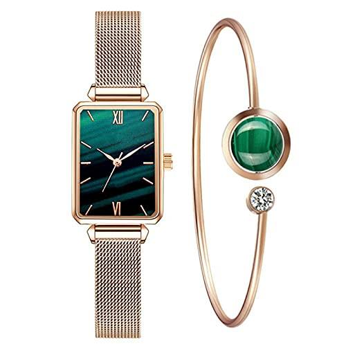 Relojes de pulsera de mujer Relojes de mujer de moda cuadrado reloj de cuarzo pulsera conjunto de esfera verde simple malla de lujo casual