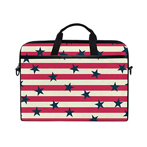 Laptop Sleeve Case,Laptop Bag,USA Red Blue Stars Pattern Water Briefcase Messenger Notebook Computer Bag with Shoulder Strap Handle,29×40 CM/15.6 Inch