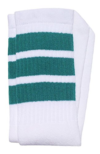 Skatersocken für Skater-Socken, 48,3 cm Gr. 19, Weiß/Blaugrün Streifen Stil 1