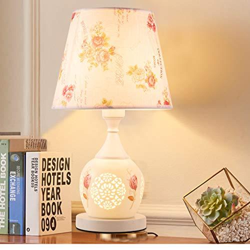 E27 Arte Cerámica Lámpara de mesa Clásico Habitación Lámparas de noche Moderno Sencillo Rural europeo Lámpara de escritorio Florero Retro Antigüedad Sala Lámpara de mesa Pantalla de tela
