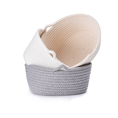 LoongBaby Cotton Rope Storage Basket Toy Chest Nesting Bins Candy Basket Handmade Box Approved by The FDA for Household Kids Toy Collection (3 Set-M)