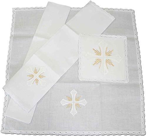 Conjunto de altar con Cruz blanca y destellos dorados