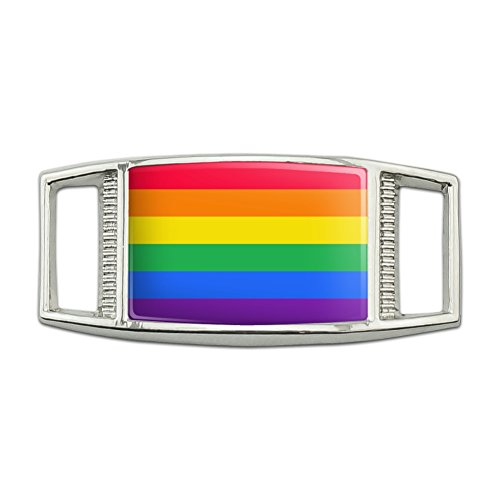 Rainbow Pride Gay Lesbian Contemporary Rectangular Shoe Shoelace Shoe Lace Tag Runner Gym Charm Decoration