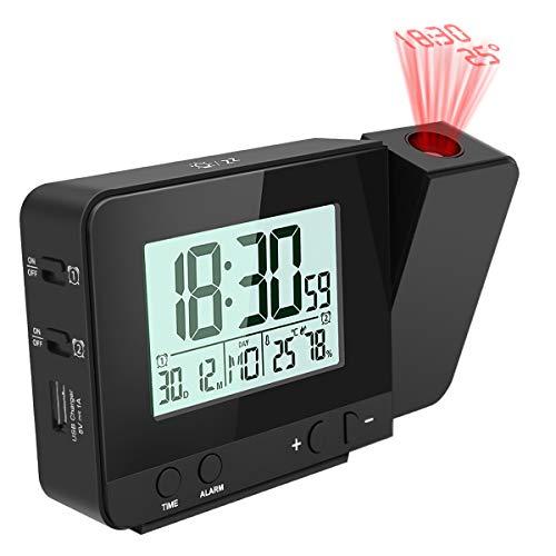 Projektionswecker E-More digitaler Wecker Reisewecker 4 einstellbare Projektionshelligkeit Tischuhr Mit Dual-Alarm Snooze Datum Zeit- und Temperaturanzeige, 180 ° Flip-Anzeige und 12 / 24H