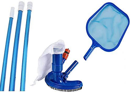 HAFIX Pool Reinigungsset mit Kescher, Teleskopstange und Bürste. 3. teilig Cleaning Kit Pool Zubehör für Schwimmbad, Teich, Whirlpools.