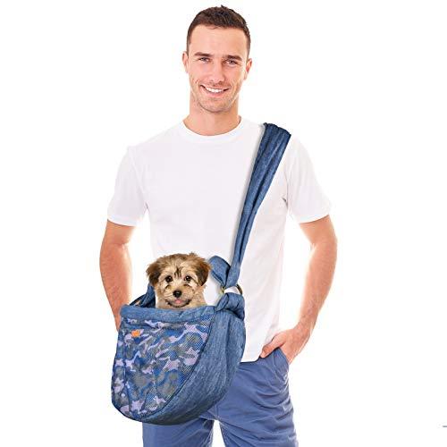 Upkey Mochila Perro Pequeño, Bandolera para Perro Transportín Bolsa Mascotas Bolsa Portador con Correa Ajustable Carga máxima 7 kg para Perros Gatos Viajes al Aire Libre Caminar