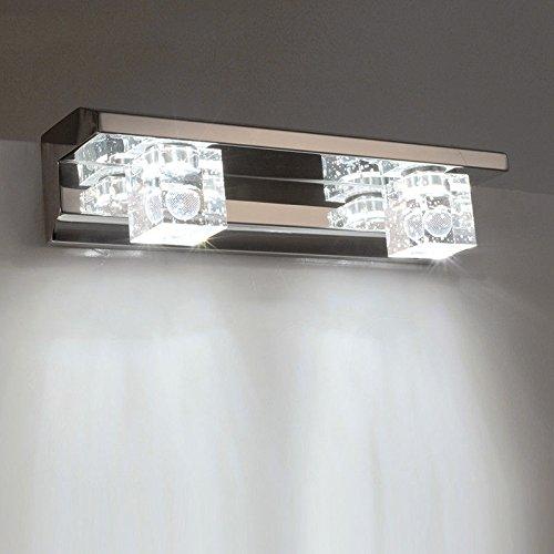 JJZHG wandlamp binnen muur lamp badkamer spiegel lamp badkamer wandlamp badkamer lamp kristal spiegel front muur gemonteerde muur lamp, kristal appel - twee hoofden - wit licht wandlampen