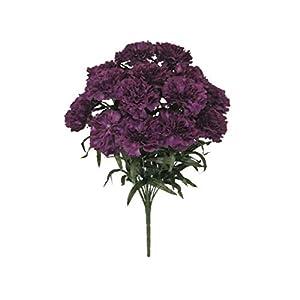 for Purple Carnation Bush Artificial Silk Flowers 18″ Bouquet 14-6996 PU Floral Décor Home & Garden