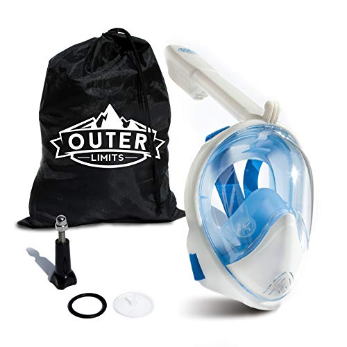 Outer Limits Full Face Snorkel Mask Adult - FullFace Snorkel Mask with Carrying Bag Included. Fog...