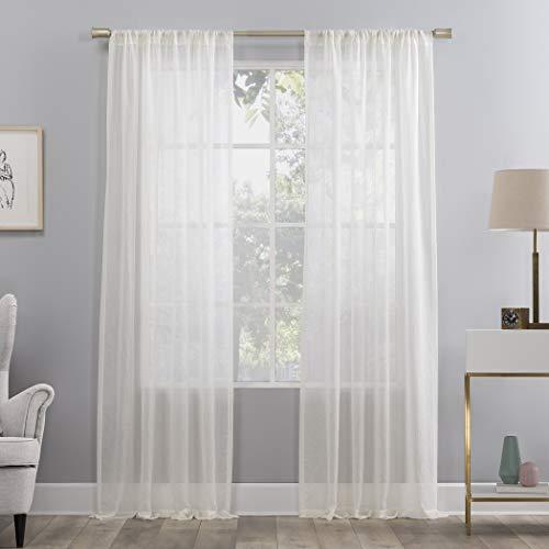 "No. 918 Genevieve 2-Pack Linen Weave Semi-Sheer Rod Pocket Curtain Panel Pair, 50"" x 84"", Cream"