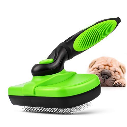 T-Buy Selbstreinigende Bürste,Hundebürste &Katzenbürste,Selbst Reinigung Zupfbürste Brush für Hunde und Katzen,für Große Bis Kleine Hunde,Verarbeitung,Entwirren,DeShedding