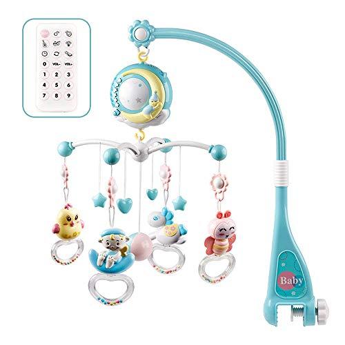 FGASAD Baby Musik-Mobile mit Fernbedienung, Babybett, Glocke, Rassel aus Kunststoff zum Aufhängen, Rasseln mit Sternen, Licht blinken, Musikbox für Kinder, Neugeborene und Babys