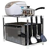 LIZANAN Estante Estante de la cocina Lixin extensible Chrome horno de microondas de almacenamiento en rack con colgar los ganchos de acero inoxidable (color: plata, tamaño: 48 * 42 * 31cm) (Color: Pla