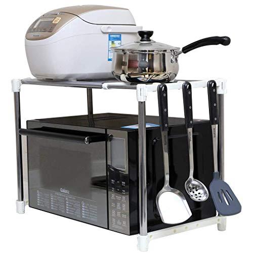 YAeele Estante de la cocina Lixin extensible Chrome horno de microondas de almacenamiento en rack con colgar los ganchos de acero inoxidable (color: plata, tamaño: 48 * 42 * 31cm) (Color: Plata, tamañ