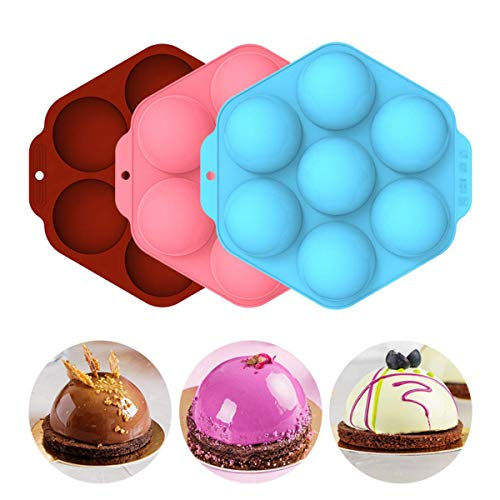 Silikonform mit 7 Löchern Silikon Backform, Semi Sphere Silikonform silikon backform kasten für Schokolade Kuchen Gelee Pudding Kuppelmousse Desserts,3 Stücks 3 Farben