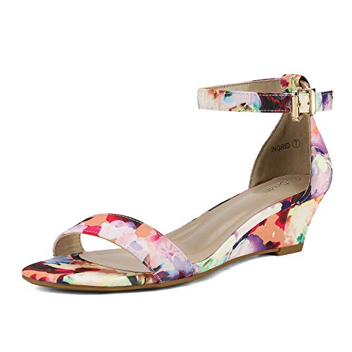 DREAM PAIRS Women's Ingrid Floral Ankle Strap Low Wedge Sandals - 5 M US