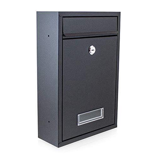 BITUXX® Kompakter Mini Briefkasten Wandbriefkasten Letterbox erweiterbar zur Briefkastenanlage (Schwarz)